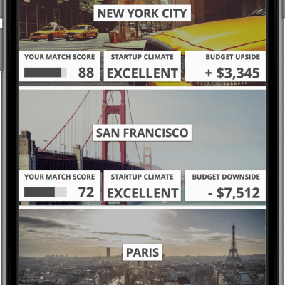 Teleport app cities result list - iOS